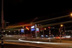 lange sluitertijd autolichten