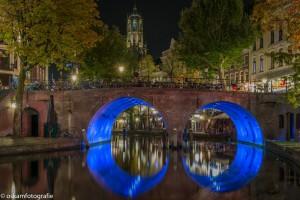 nachtfotografie Utrecht dubbele blauwe brug